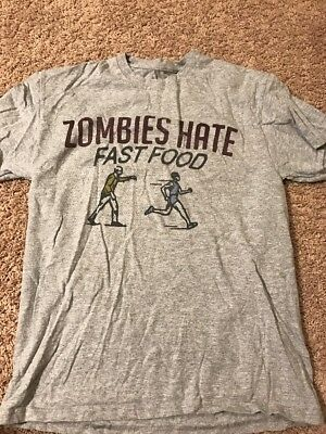 Zombies Hate Fast Food Grey T Shirt Adult Medium Ink Inc. Zombie