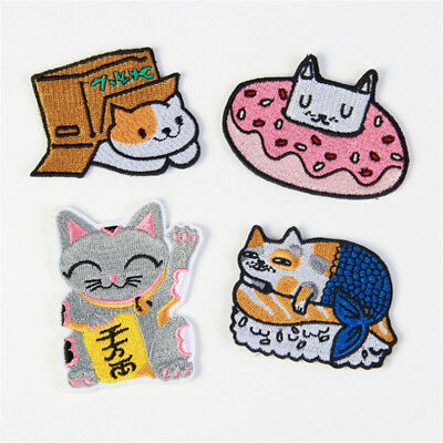 Lovely Cat Animal Sew Iron On Patch Bag Clothes Applique DIY Crafts Embroidered