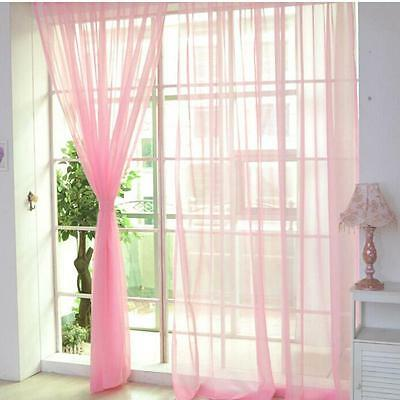 Pink Floral Tulle Voile Door Window Curtain Drape Panel Sheer Scarf Divider M