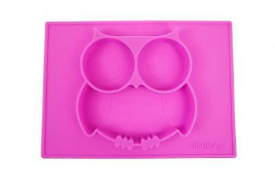 """Silicone Mini Placemat, Owl So Cute 10.7""""x7.7""""x1"""" Baby Feeding Mat Fits Most..."""