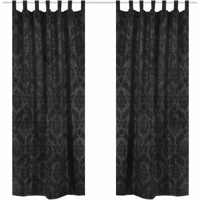 2 PC Baroque Taffeta Tab Top Curtains 140x245 cm Drop Black Window Bedroom Study