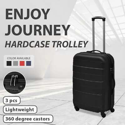 3PC Luggage Set Light Suitcase ABS Trolley Hard Case Travel Trip Multi Colours