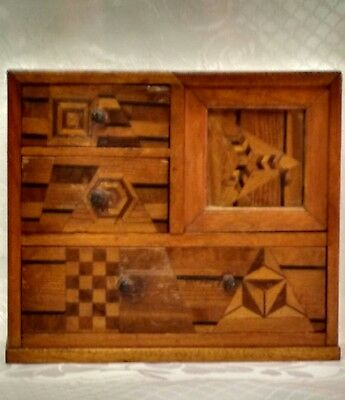 Japanese parquetry table cabinet.