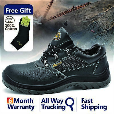 Safetoe Safety Work Shoes Mens Steel Toe Water Resistant Black Leather Anti-nail