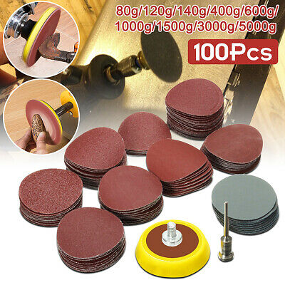 100Pcs 1'' Sanding Discs + Hook & Loop Abrasives Backing Pad + 1/8'' Shank