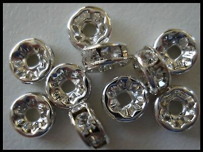 Rondelle Spacer x 25 Clear Rhinestone Silver tone 6mm Bead Caps