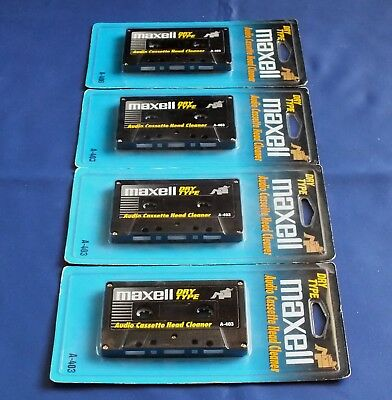 4 x New Sealed Maxell A-403 Dry Type Audio Cassette Head Cleaners