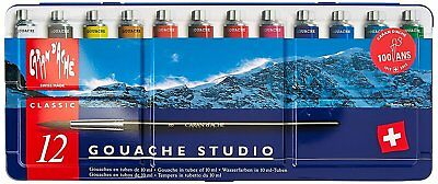 Caran d'ache Gouache Paint Set 12 Tube Colours - Gouache 10ml Tubes