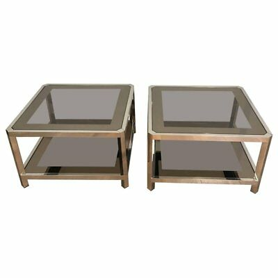 Pair Of Large Octagonal Chrome Side Tables