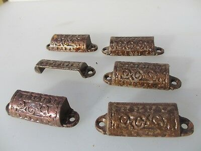 Vintage Cast Iron Drawer Handles Pulls Chest Cup Handles Old Hardware x6