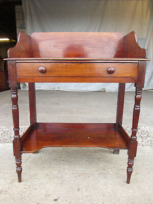 Victorian mahogany galleried back washstand/desk single drawer undertier (537)
