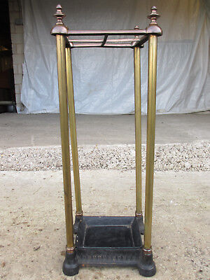 Victorian brass and iron 4 section stick/umbrella stand with drip tray (538)