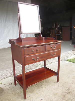 Edwardian mahogany mirrored dressing table washstand with brass handles (540)