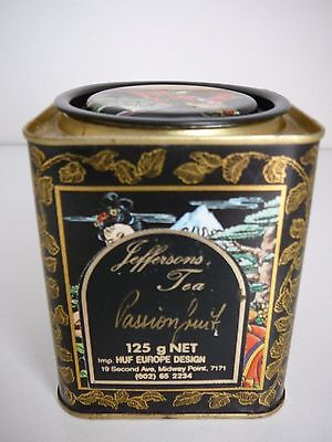 Jeffersons Passionfruit tea tin oriental lady Japanese decorative caddy
