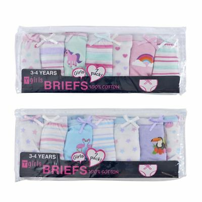 Girls 7 Pack Cotton Briefs Knickers Unicorn or Bird NEW Sizes 2-8yrs  Free P&P