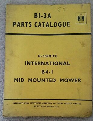 McCORMICK INTERNATIONAL B4-1 MID MOUNTED MOWER PARTS CATALOGUE