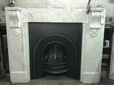 Victorian marble fireplace surround. White with corbels (INSERT NOT INCLUDED)