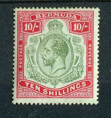 Bermuda KGV 1918-22 10s green & red on pale bluish green (1922) SG54c VLMM
