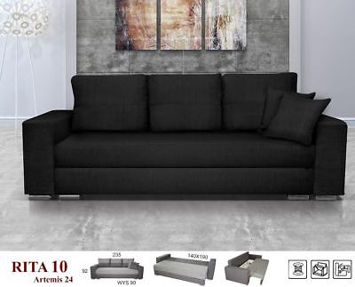 New Large Black Sofa Bed Rita Victorio Fabric With Storage 3 Seater Double Bed
