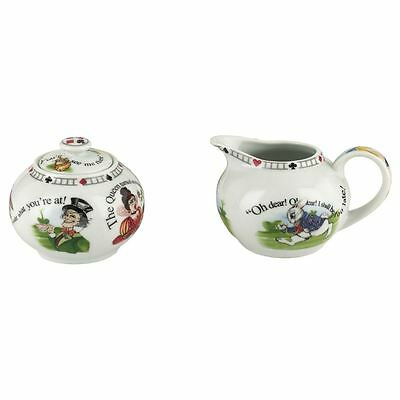 Paul Cardew Alice in Wonderland 7.25oz covered sugar bowl & milk jug creamer set