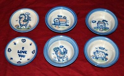 Lot of 6 M.A. Hadley Pottery 4 bowls  and 2 saucers * BARN, CHICKEN, I LOVE YOU