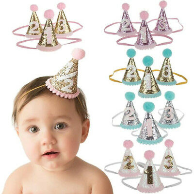 Baby Boy Girl Birthday Hat Headband Hair Party Favor 1st 2nd Three Year Number