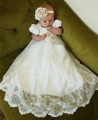 Baby Infant Christening Dress Lace Applique Boys Girls Baptism Gown White Ivory