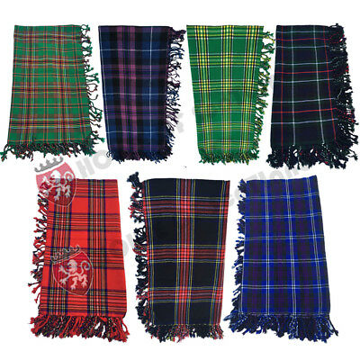Scottish Kilt Fly Plaid Acrylic Wool Tartans Highland Purled Fringe Fly Plaids