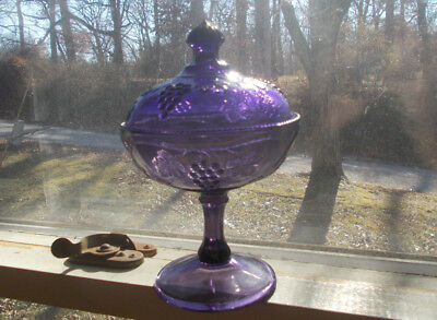 Antique Amethyst Glass Grapes Pattern Covered Compote Or Footed Berry Bowl