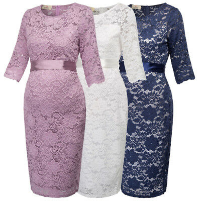 Gk Maternity Pregnant Women's Half Sleeve Crew Neck Hips-wrapped Lace Dress