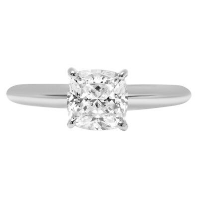 1.0ct CushionCut Solitaire Promise Engagement Wedding Ring Solid 14k White Gold
