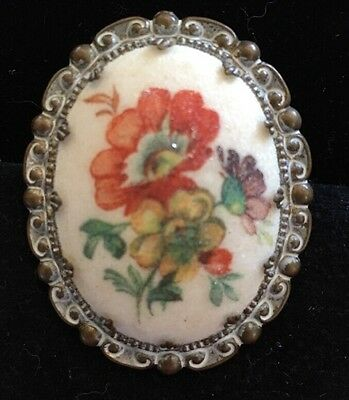 Vintage Victorian Style Flower Pin Gold Tone White Etched W Germany
