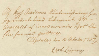 Carl Linnaeus Document Signed as Professor of Medicine