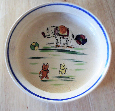 Antique Child's Dish Early Japan Mark Circus Elephant And Cats