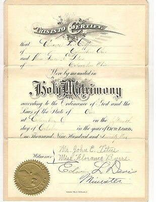 VINTAGE - MARRIAGE Certificate / License - July 6, 1927 - New Mexico ...