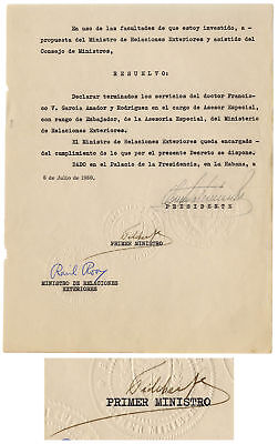 Fidel Castro Decree Signed as Prime Minister From 1960