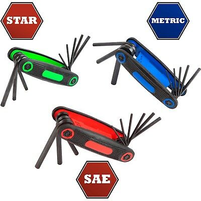 Hyper Tough 3 pc. Folding Hex Key Set SAE Metric Star Allen Wrench Hand Tool