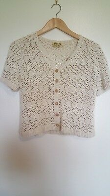 VINTAGE Crochet Cardigan Top, cropped, Short Sleeves, Size 12 - 14