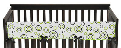 Jojo Green Black Spirodot Front Rail Guard Crib Cover Baby Teething Protector