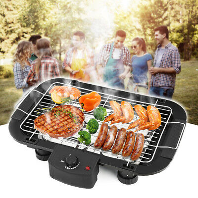 Electric BBQ Teppanyaki Grill Non Stick Barbeque Griddle Smokeless Hot Plate