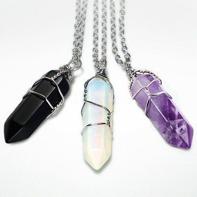 Wire-Wrapped Crystal Necklace Pendant with Chain Opalite Onyx Amethyst Gem Stone
