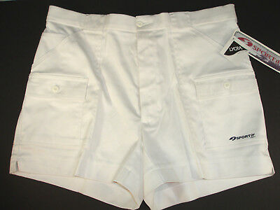 NEW Vintage 70's Sportif White Cargo Tennis Hiking Shorty Shorts NWT Sz 36