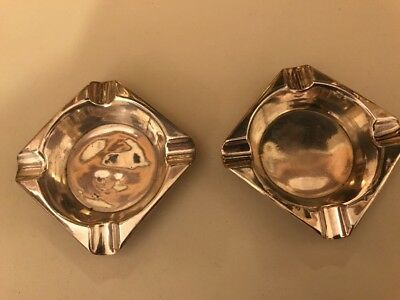 A Pair Of Very Stylish Art Deco Solid Silver Ashtray's Quaint Birmingham 1924