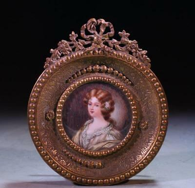 French Portrait Miniature Painting of a Young Lady,