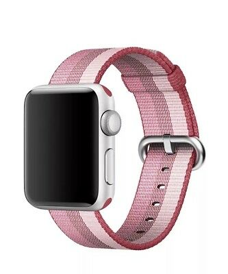 Apple Watch 38mm Pink and Red Striped Watch Band - Woven Nylon