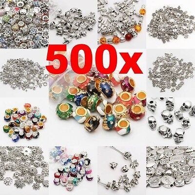 Lot 50-500pcs Tibet Silver Beads Spacer For Jewelry Making European Bracelet FA