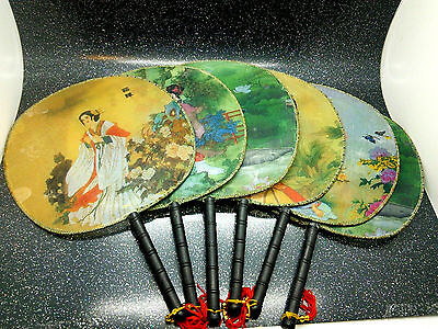 Set 6 Oriental Chinese Japanese Geisha Fans c1980s Feng Shui