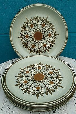 4 x Denby Pottery 10.75 Inch Dinner Plates Pattern Name Unknown
