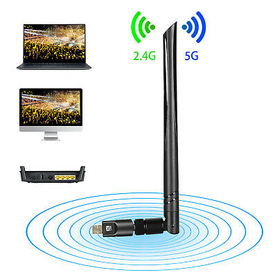 1200Mbps Dualband WiFi Adapter Dongle WLAN Stick 802.11b/g/n/ac USB 3.0 2.4/5GHz