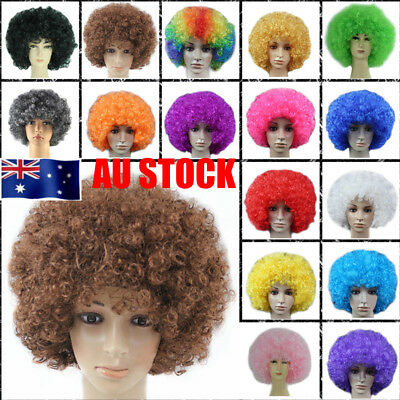 Afro Funky Clown Hair Style Football Fan Fancy Dress Costume Curly Wavy Full Wig